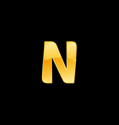 initial letter n with metallic texture trendy 3d vector image