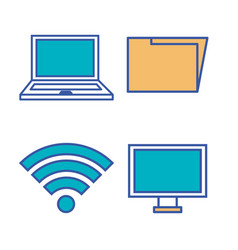 internet technology set flat icons vector image