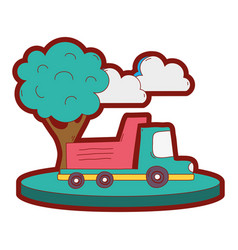 line color dump truck in the city with clouds and vector image