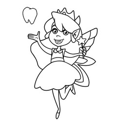 little tooth fairy line art vector image