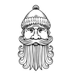 lumberjack head in engraving style design element vector image