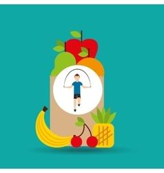 man jump rope exercising bag health food vector image