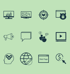 marketing icons set with online consulting vector image