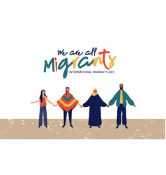 Migrants day diverse people group concept vector