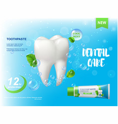 Mint toothpaste white healthy tooth poster vector
