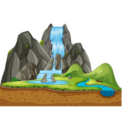 nature background scene with waterfall vector image