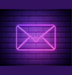 neon love letter icon isolated on brick wall vector image