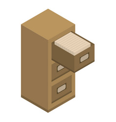 Open archive drawer icon isometric style vector