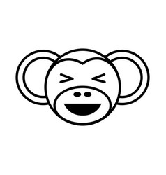 outline monkey head animal vector image