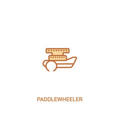 Paddlewheeler concept 2 colored icon simple line vector
