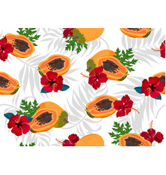 papaya fruits seamless pattern on white vector image