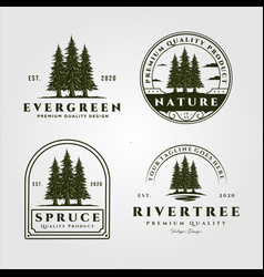 Pine trees set vintage logo design collection of vector