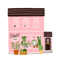 pink flower shop house vector image