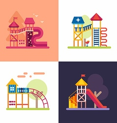 Playground for Kids Set of four colored flat vector