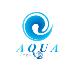 Pure aqua ecology logo human water reserves theme vector