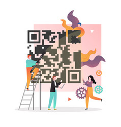 Qr code concept for web banner website vector