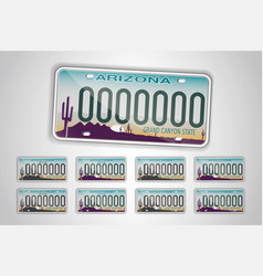 Set arizona auto license plate detailed object vector