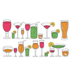 set glasses with liquid drinks cocktails vector image