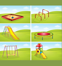 Set of playground equipments vector