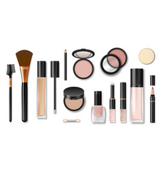 Set realistic cosmetic makeup products blank vector