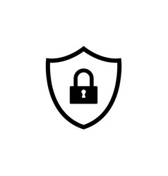 shield security icon black vector image
