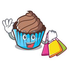 Shopping chocolate cupcake character cartoon vector