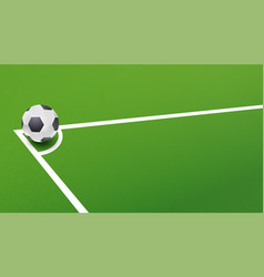 Soccer ball in corner of the field for a penalty vector