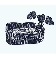 sofa black silhouette icon vector image