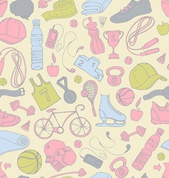 Sport and fitness seamless doodle pattern vector