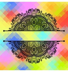 square geometric composition with ethnic flower vector image