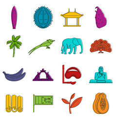 sri lanka travel icons doodle set vector image