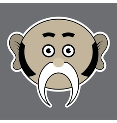 Sticker - beige ridiculous man with black mustache vector