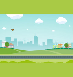suburb with road against background a city vector image