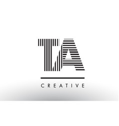 Ta t a black and white lines letter logo design vector
