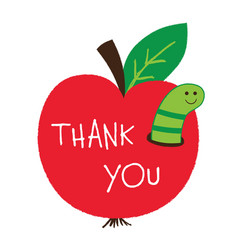 teachers day card with an apple and a worm vector image