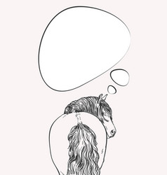 Thinking horse with long mane looks back view vector