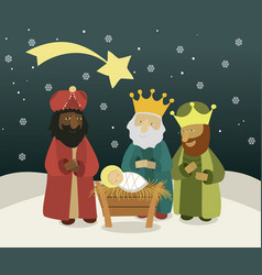 three wise men bring presents to jesus vector image