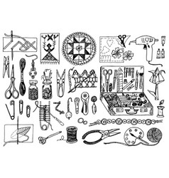 tools for hobsewing elements or materials vector image