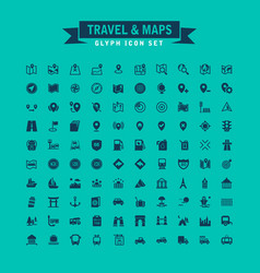Travel and maps glyph icon set vector