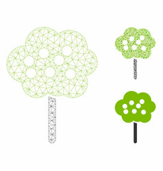 tree mesh 2d model and triangle mosaic icon vector image