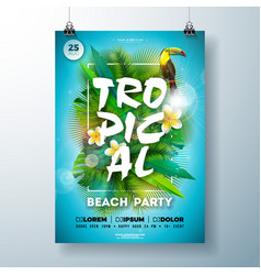 tropical summer beach party flyer design with vector image