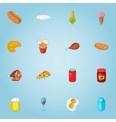 Unhealthy food icons set cartoon style vector