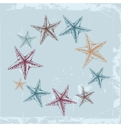 Vintage Decorative frame for text with starfishes vector image