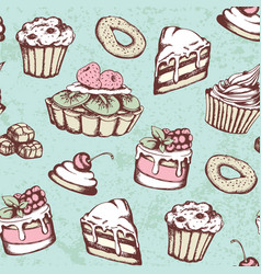vintage seamless pattern with sweets vector image