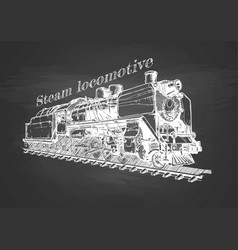 vintage train on blackboard vector image
