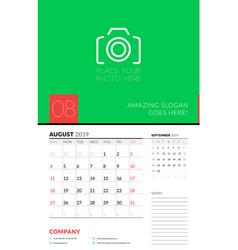 Wall calendar planner template for august 2019 vector