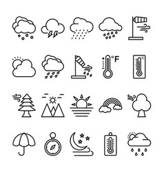 Weather line icons set 2 vector