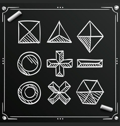 chalkboard polygonal sketch shapes figures ico vector image