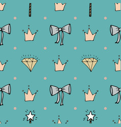 lovely seamless pattern with hand-drawn bows vector image