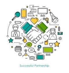 Successful Partnership Line Concept vector image vector image